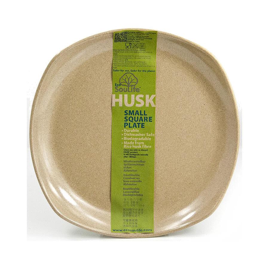 צלחת קטנה ממוחזרת ומתכלה - Husk Square Plate Sm - ecolife
